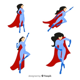 Confezione di personaggi di supereroi femminili in stile cartoon