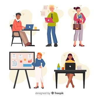 Confezione di persone che lavorano in ufficio