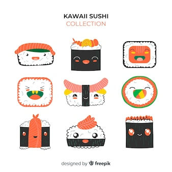 Confezione di pezzi di sushi kawaii