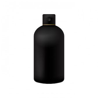 Confezione di prodotti di bellezza neri cosmetici bottiglia su bianco isolato