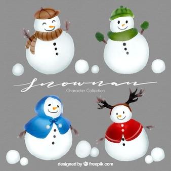 Confezione di pupazzi di neve con accessori acquerello