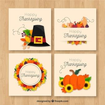Confezione di quattro carte di ringraziamento retrò