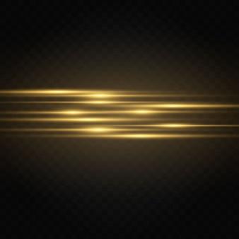 Confezione di razzi orizzontali gialli. raggi laser, raggi di luce orizzontali.