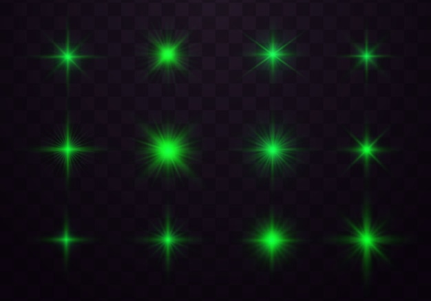 Confezione di razzi verdi orizzontali. scintilla, stella scoppiata.