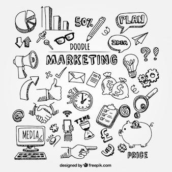 Confezione di scarabocchi di marketing per infografica
