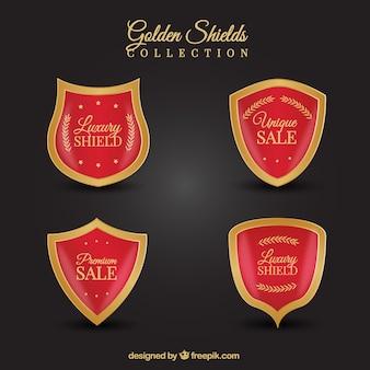 Confezione di scudi di sconto rosso e oro