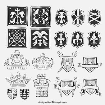 Confezione di scudi disegnati a mano ed elementi medioevali