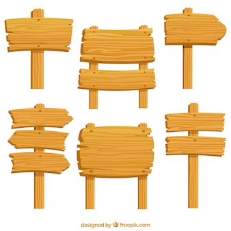 Confezione di sei segni di legno