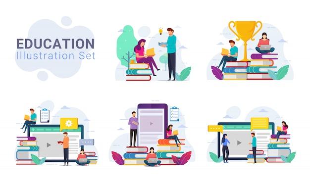 Confezione di set di illustrazione di concetto di design di istruzione