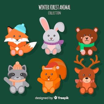 Confezione di simpatici animali della foresta invernale