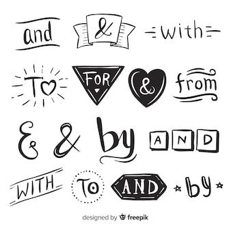 Confezione di slogan matrimonio carino disegnato a mano