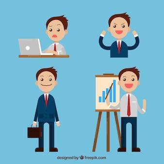 Confezione di sorridere carattere uomo d'affari in diverse situazioni