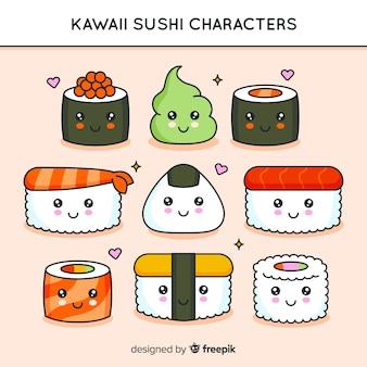 Confezione di sushi kawaii disegnata a mano