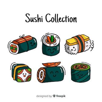 Confezione di sushi kawaii disegnato a mano