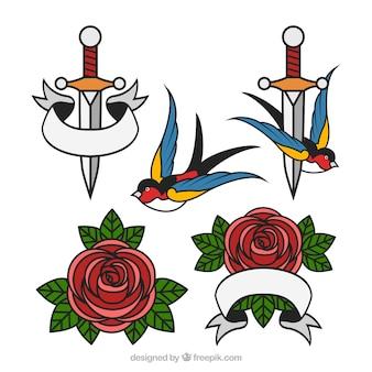 Confezione di tatuaggi di dagger con rose e rondini