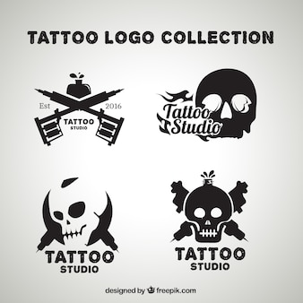 Confezione di tatuaggi loghi cranio