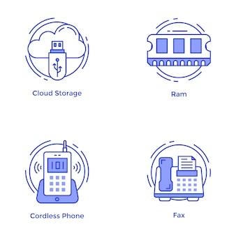 Confezione di tecnologia e icone linea hardware