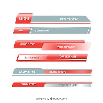 Confezione di terzi moderni grigi e rossi moderni