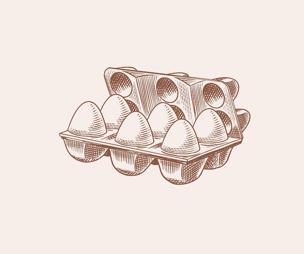 Confezione di uova. prodotto di fattoria. schizzo vintage retrò disegnato a mano inciso. stile xilografia. illustrazione per menu o poster.