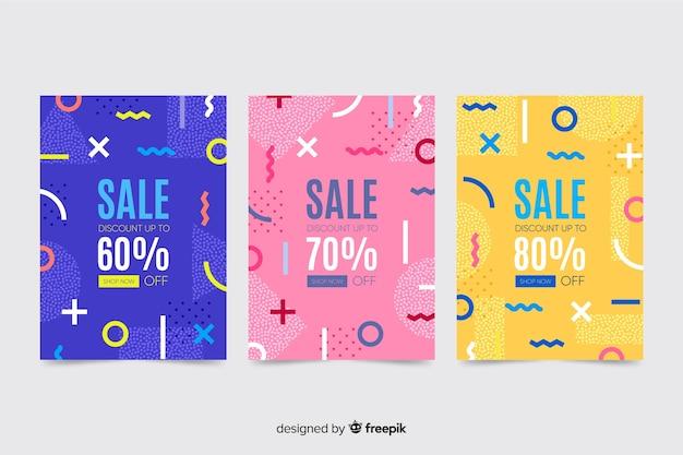 Confezione di vendita colorato banner stile memphis