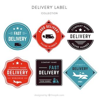 Confezione elegante di etichette di consegna vintage