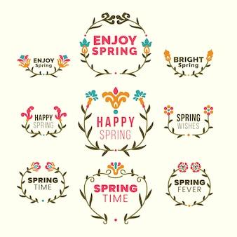Confezione etichette primavera design piatto