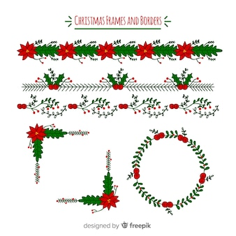Confezione floreale per cornici e bordi natalizi