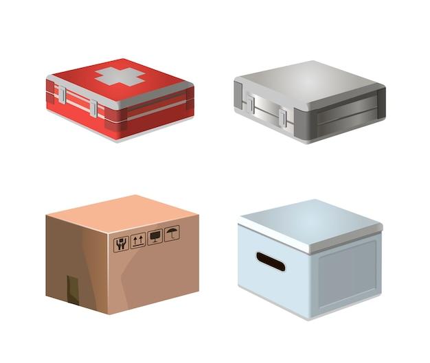 Confezione in cartone piatto e kit medicok. scatola isolata pacchetto 3d. pacchetto del regalo di infographic dell'oggetto di consegna del fondo