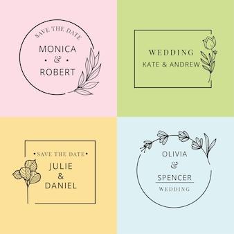 Confezione monogrammi matrimonio minimalista in colori pastello