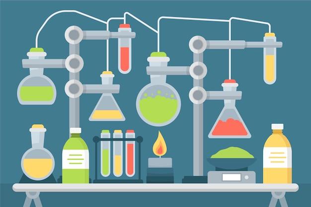 Confezione piatta di oggetti di laboratorio di scienza