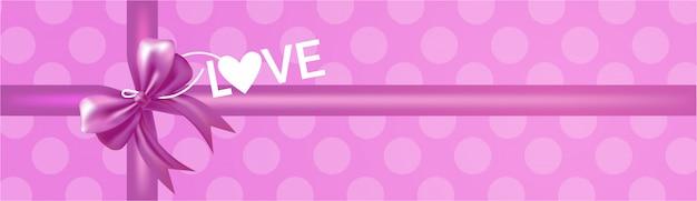 Confezione regalo con fiocco rosa e fiocco vista dall'alto lettering amore sul banner viola rosa disegno di sfondo