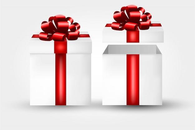 Confezione regalo con fiocco rosso e fiocco.
