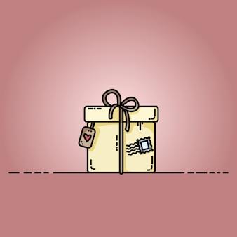 Confezione regalo con un francobollo. illustrazione piatta vettoriale