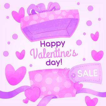 Confezione regalo da scartare in vendita di san valentino ad acquerello