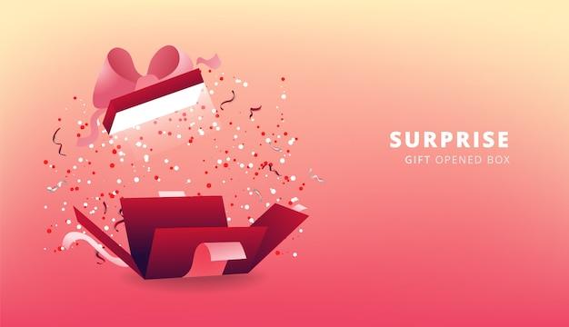 Confezione regalo rossa a sorpresa con nastro rosa e coriandoli. scatola regalo aperta festa, poster dello shopping. design di san valentino.
