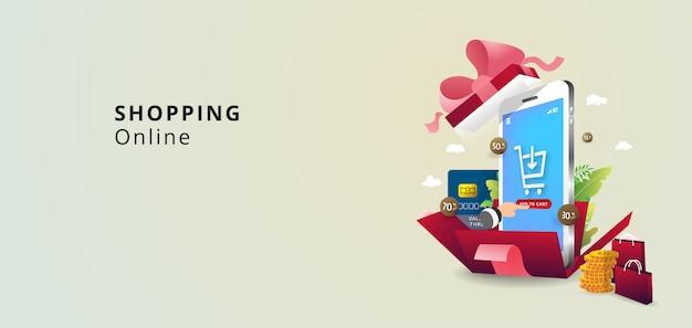 Confezione regalo rossa a sorpresa con nastro rosa. scatola regalo aperta festa, poster dello shopping. design di san valentino. acquisti online concpet.