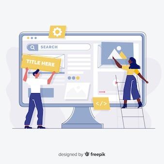 Configurazione del sito web della pagina di destinazione del concetto