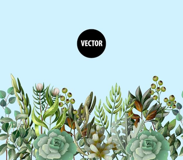 Confine con foglie e succulente in stile acquerello