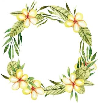 Confine cornice acquerello fiori e piante tropicali