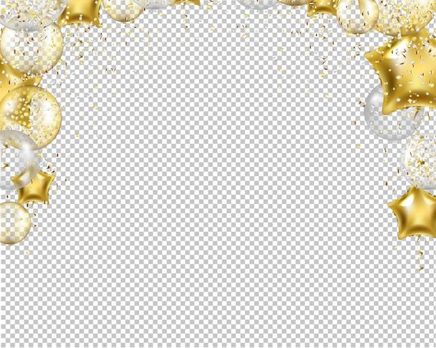 Confine di congratulazioni con palloncini dorati su trasparente