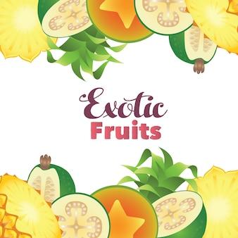 Confine di feijoa di ananas di frutta esotica di papaia