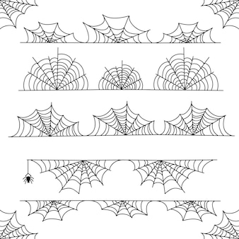 Confine e divisori della struttura di vettore della ragnatela di halloween con la ragnatela