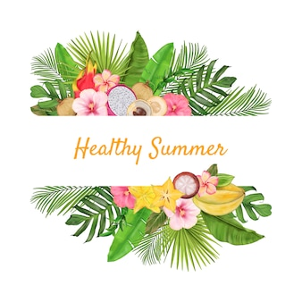 Confine tropicale con frutti esotici, fiori, foglie