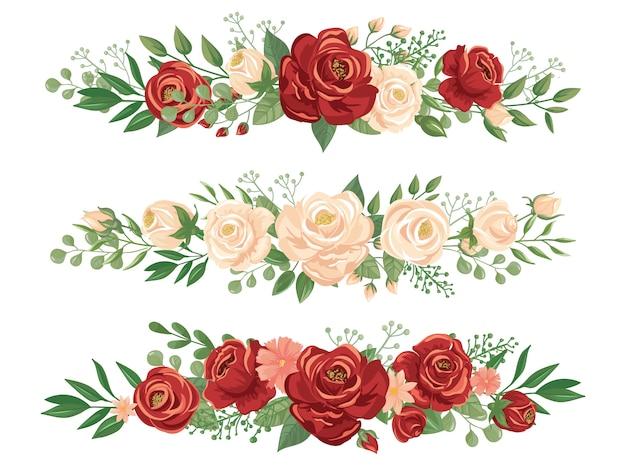 Confini di fiori panoramici. illustrazione floreale di vettore dell'insegna di panorama dell'intestazione delle rose, del confine del fiore e del germoglio