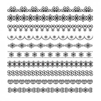 Confini ornamentali con dettagli floreali