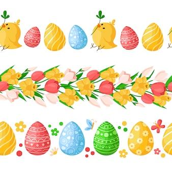 Confini senza giunte di giorno di pasqua con uova di pasqua colorate, polli, farfalle, fiori primaverili