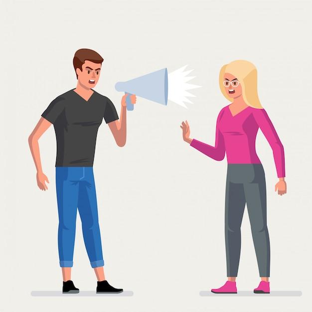 Conflitto. un uomo e una donna litigano.