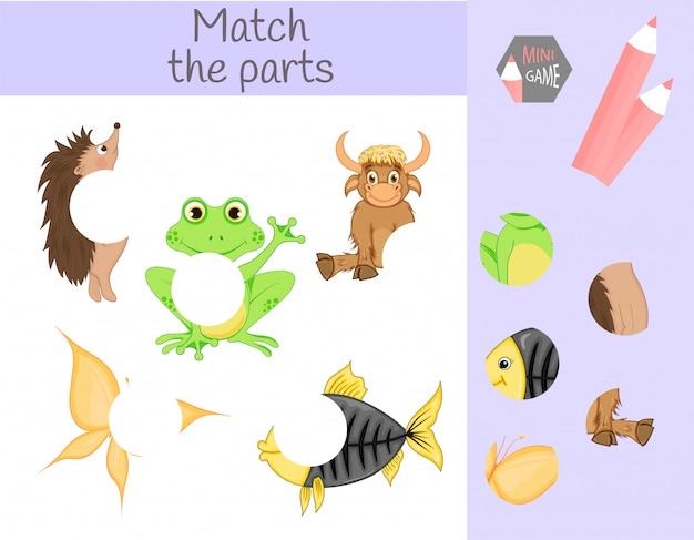 Conformità al gioco educativo dei bambini. abbina parti di animali. trova i puzzle mancanti