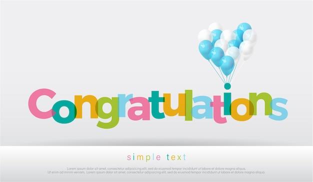 Congratulazioni colorate con palloncini su sfondo bianco