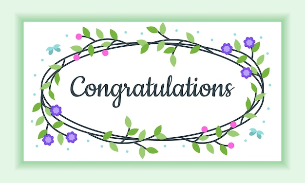Congratulazioni floral frame greeting card, assolutamente bello e affascinante